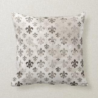 Trendy Distressed Silver Grey Fleur De Lis Pattern Throw Pillow