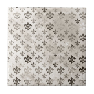 Trendy Distressed Silver Grey Fleur De Lis Pattern Tile