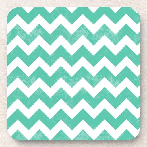 Trendy Distressed Worn Blue White Chevron Pattern Beverage Coaster