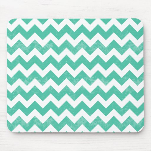 Trendy Distressed Worn Blue White Chevron Pattern Mouse Pad