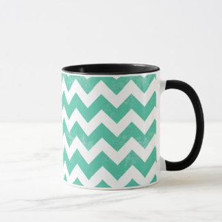 Trendy Distressed Worn Blue White Chevron Pattern Mug