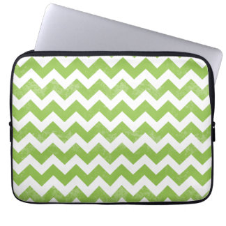 Trendy Distressed Worn Green White Chevron Pattern Laptop Sleeve