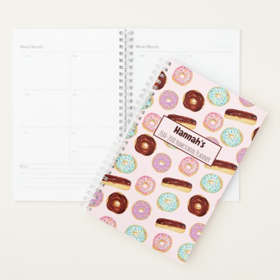 Trendy Donut Sprinkles Pink Cute Modern Add Name Planner