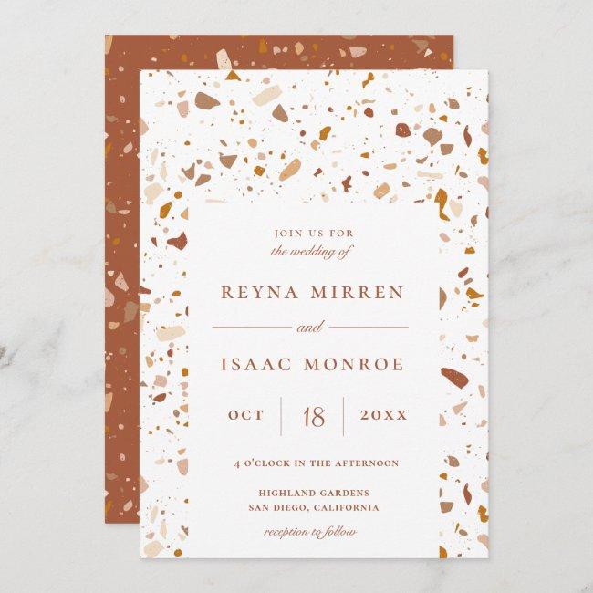 Trendy Earthy Terrazzo Artisan Frame Wedding Invitation