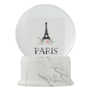 Trendy Eiffel Tower and Blush Pink Flowers | Paris Snow Globe
