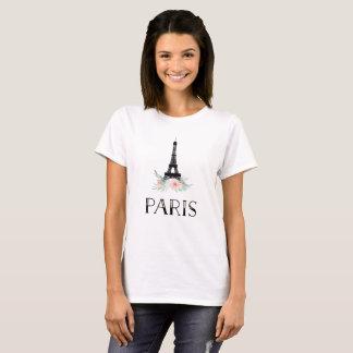 Trendy Eiffel Tower and Blush Pink Flowers | Paris T-Shirt