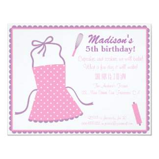 Trendy Elegant Apron Cooking Baking Birthday Party Card