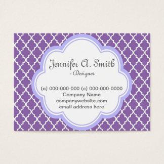 Trendy, elegant, cool, girly purple quatrefoil and business card