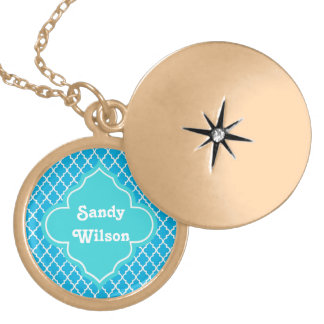 Trendy, elegant, cool, modern aqua blue quatrefoil locket necklace
