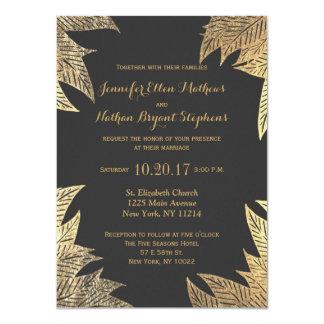 Trendy Elegant Gold Faux Drawn Leaf Pattern Card