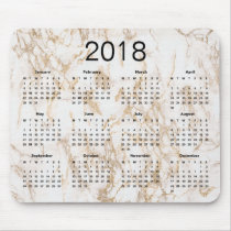 Trendy Elegant Gold Marble 2018 Calendar Mouse Pad