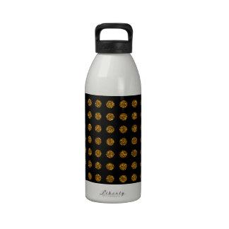 Trendy Elegant Gold Polka Dots Glitter Photo Print Drinking Bottles