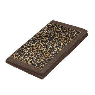 Trendy Elegant Leopard Print Leopard Fur Trifold Wallet