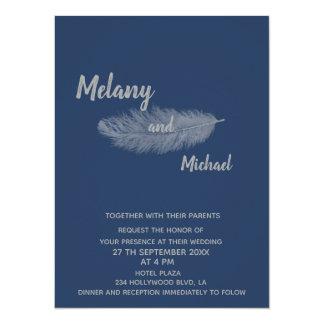 Trendy elegant minimalist navy peony feather card