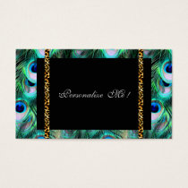Trendy Elegant Modern Girly Peacock & Leopard Business Card