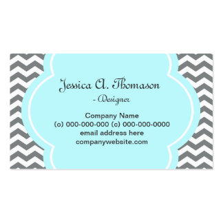 Trendy, elegant, modern grey and white chevron Double-Sided standard business cards (Pack of 100)