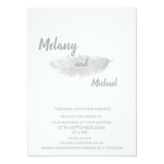 Trendy elegant modern minimalist feather card