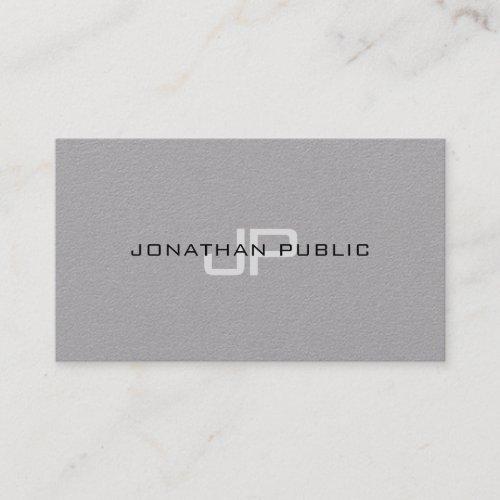 Trendy Elegant Monogram Minimalist Plain Luxury Business Card