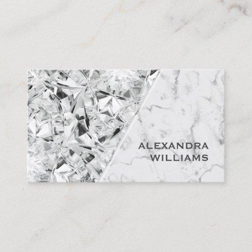 Trendy Elegant Realistic Diamond White Marble Business Card