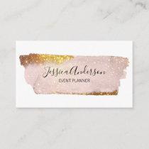 Trendy Elegant Rose Gold Glitter White Business Card