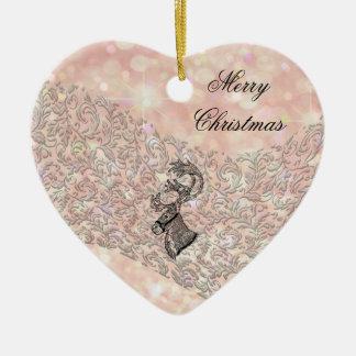 Trendy elegant winter christmas  holiday reindeer ceramic ornament