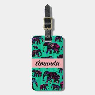 Trendy Elephants Flowers Anchors Hearts Monogram Luggage Tag
