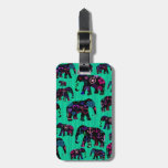 Trendy Elephants with flowers anchors hearts Tags For Luggage