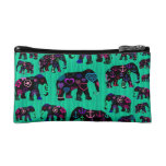 Trendy Elephants with flowers anchors hearts Makeup Bags