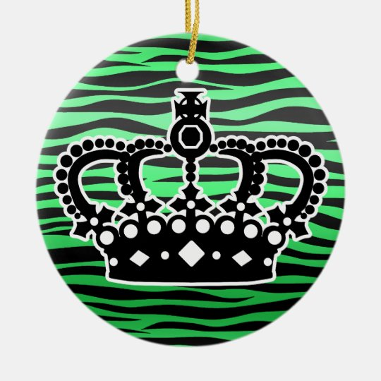 trendy emerald green and black zebra print ceramic ornament