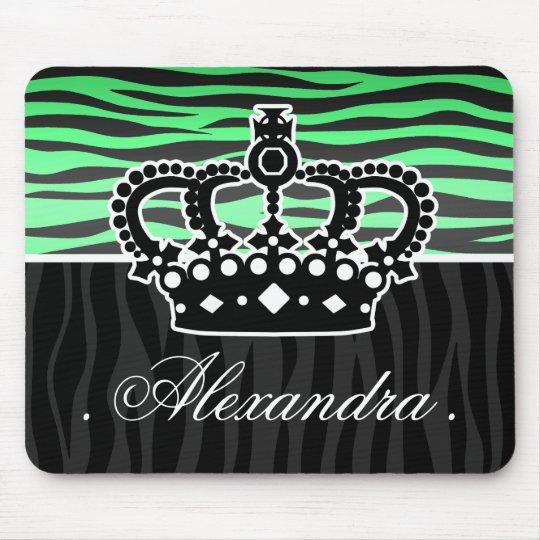 trendy emerald green and black zebra print mouse pad