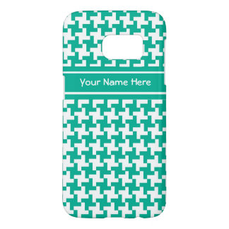 Trendy Emerald Green and White Dogtooth Pattern Samsung Galaxy S7 Case