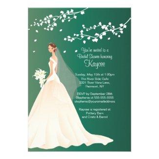 Trendy Emerald Green Bride Bridal Shower Invite