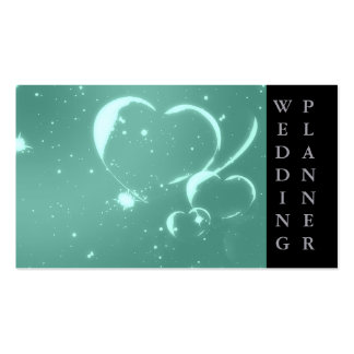 Trendy Emerald Green Romantic Hearts Business Card