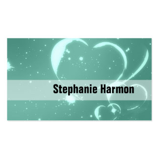 Trendy Emerald Green Romantic Hearts Business Cards