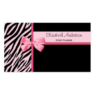trendy event planner pink and black zebra with bow business cards - Girly Business Cards