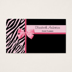 Trendy Event Planner Pink And Black Zebra With Bow Business Card at Zazzle