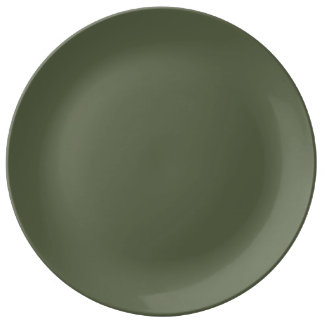Trendy Evergreen Solid Color Porcelain Plates