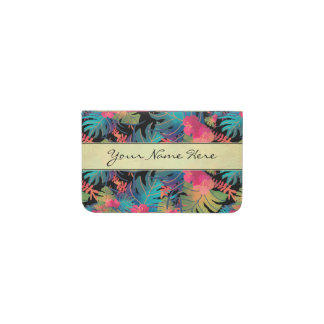 Trendy Exotic Tropical Leaves with Gold Business Card Holder