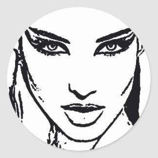Trendy face classic round sticker