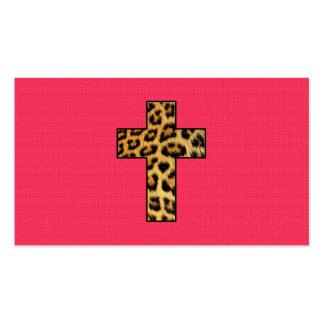 Trendy Fashion Cheetah Print Cross on Pink Neon Business Card