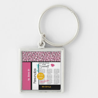 Trendy Fashion Newsprint Pink Leopard and Name Silver-Colored Square Keychain