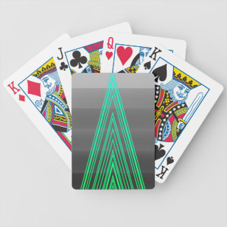 Trendy Fashion Triangle Green Neon Line Art Bicycle Playing Cards