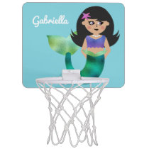 Trendy Faux Foil Latino Mermaid Personalized Kids Mini Basketball Hoop