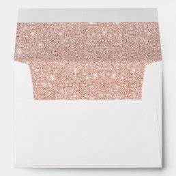 Trendy faux glitter rose gold brushstrokes marble envelope