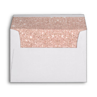Trendy faux glitter rose gold brushstrokes marble envelope