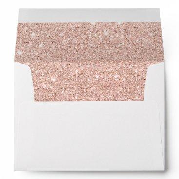 girly_trend Trendy faux glitter rose gold brushstrokes marble envelope