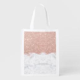 Trendy faux glitter rose gold brushstrokes marble reusable grocery bag