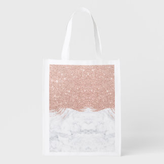 Trendy faux glitter rose gold brushstrokes marble reusable grocery bag