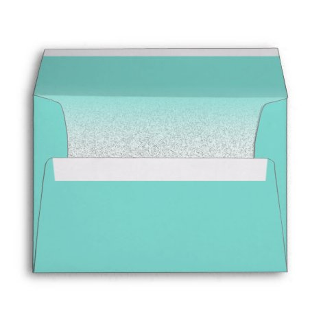 Trendy Faux Glitter Silver Teal Ombre Elegant 5x7 Envelope