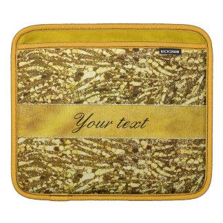 Trendy Faux Gold Foil Zebra Stripes iPad Sleeves
